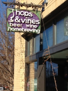 Hops & Vines on Haywood Street. great homebrew and bottle shop that I will visit each time I go to Asheville from now on.