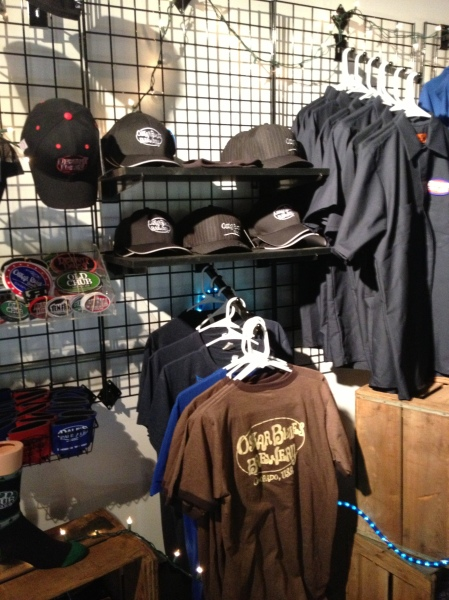 Merchandise area at Oskar Blues