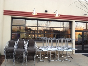 Outside patio seating area at Wicked Weed.