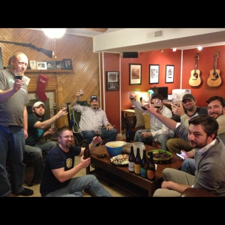 Bottom left, clockwise: Rob of Knox Beer Snobs, Ratchet, Matt of Knox Beer Crew, Mike from The Market in Maryville, Jeff Haws, Don of Knox Beer Snobs, Shawn Kerr,  Josh Archer giving a toast to Jason Anderson and his recently deceased pal, Blu.