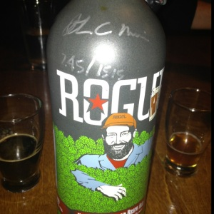 Hand signed and individually numbered Rogue's Fifteen Thousand Brew Ale