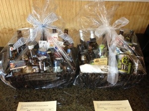 Baskets of rare beer to were one of the many items to bid on for the silent auction.