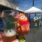 Great tasting glasses at the festival. Mascot Thirty in the background. picture courtesy of Roadtripsforbeer.com