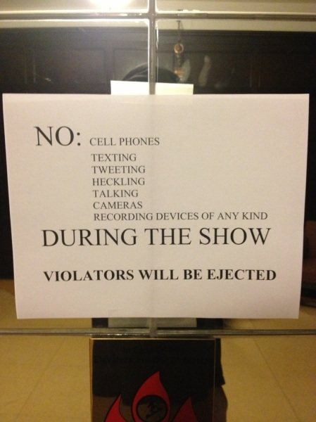 Signs posted all over the TN theater. Too bad they were ignored.