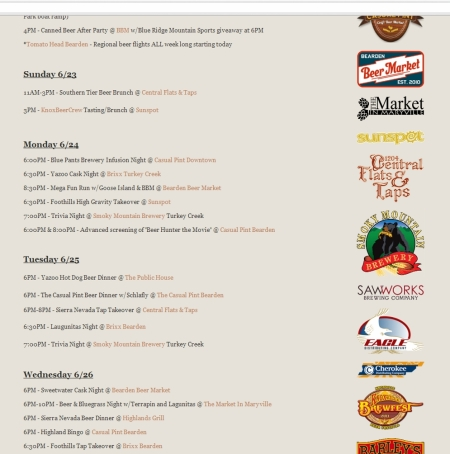 Knoxville Craft Beer Week Calendar