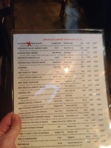 Beer menu at Brick Store