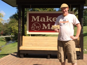 At the Maker's Mark sign with my Golden Ticket.