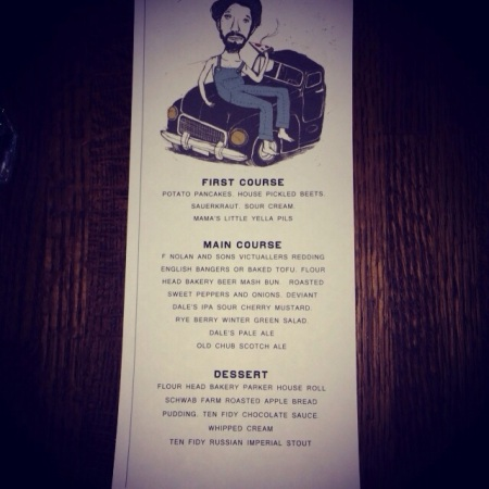 Menu for the beer dinner
