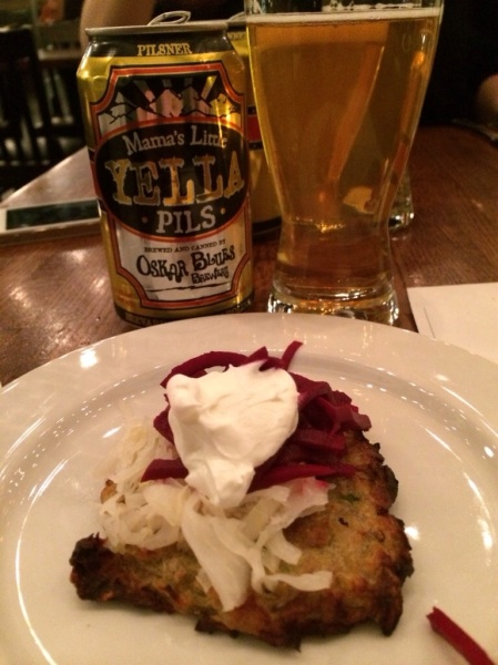 Potato pancake, house pickled beets, Sauerkraut and sour cream paired with Mama's Little Yella Pils.